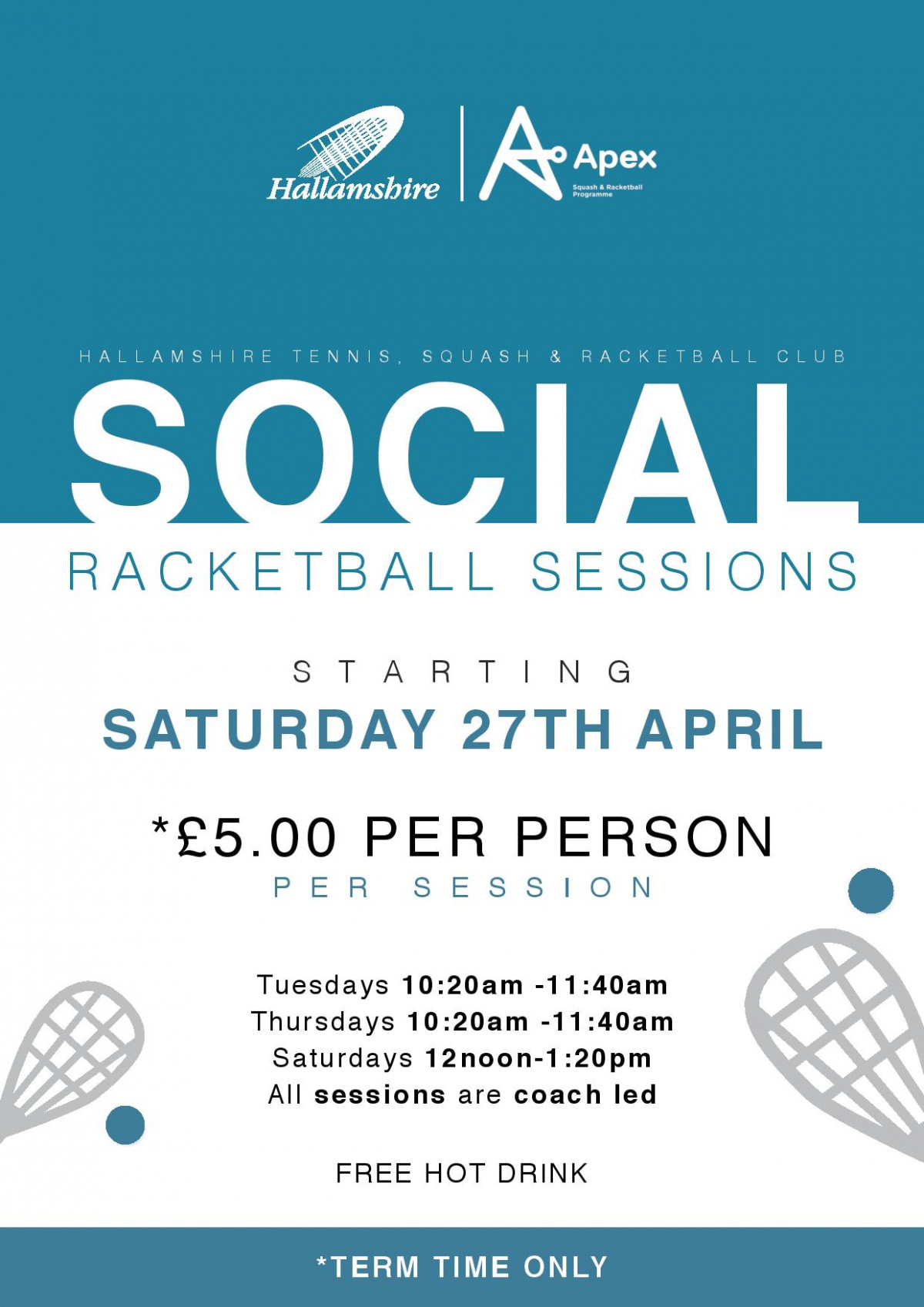 Social Racketball Drop-In Sessions